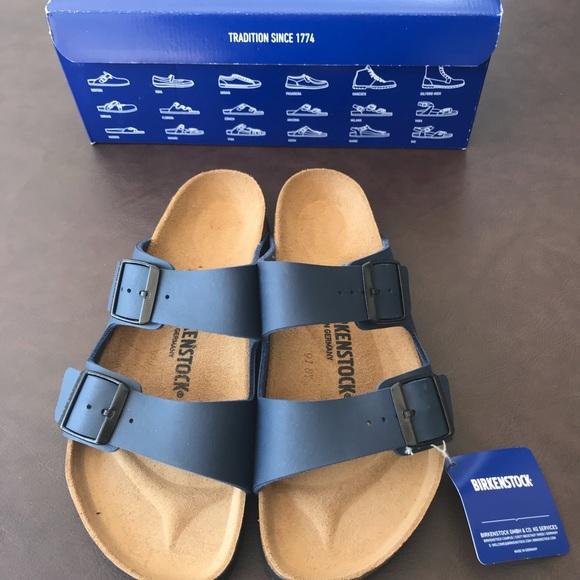 2db733012a9d Birkenstock Arizona Birko-Flor Blue Sandals NIB